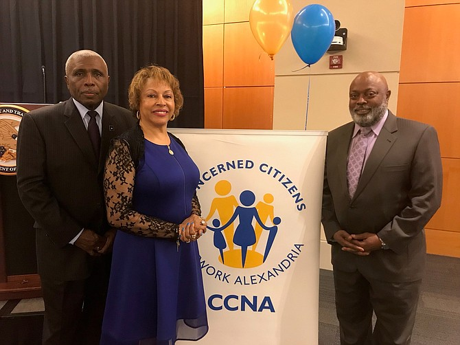Col. Jim Paige (ret.), Gwendolyn H. Lewis and Dr. Bernard Jackson at the CCNA 10th anniversary reception April 18 at the U.S. Patent and Trademark Office.