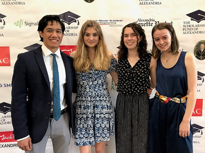 T.C. Williams High School scholarship recipients Lutfi LaSida, Ailysh Motsinger, Tessa Naughton-Rockwell and Ella Foster.