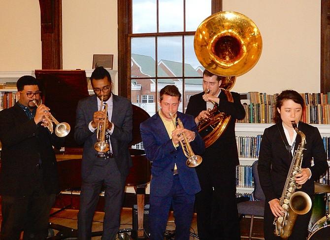 GMU's Dirty Gold Brass Band kicks off the Spotlight on the Arts Opening Gala.