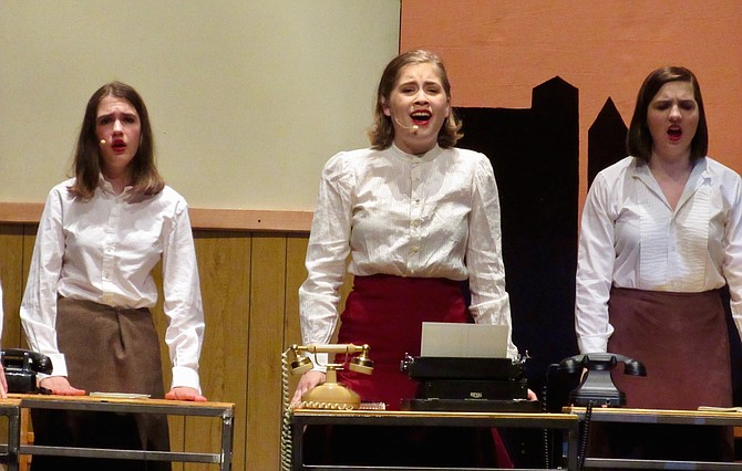 From left:  ViVi Schmidt, Hannah Black and Naomi Scully-Bristol in W.T. Woodson High School production of 'Thoroughly Modern Millie.'