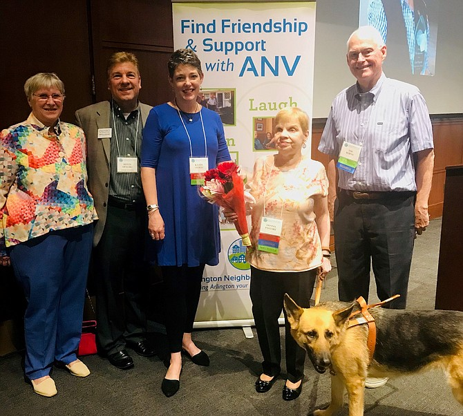 Arlington Neighborhood Villages executive director Wendy Zenker, left, with Synergy Homecare sponsor Mitch Opalski, volunteer Kathy Stokes, ANV president Donna Pastore and ANV board member Tim Burns gather at the ANV five-year anniversary and volunteer recognition celebration May 3 at the National Rural Electric Cooperative Association.