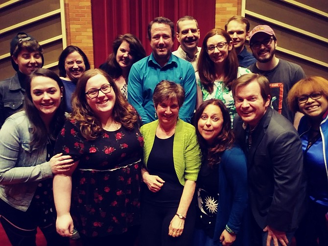 """The cast of """"Ponzi"""" in rehearsals."""