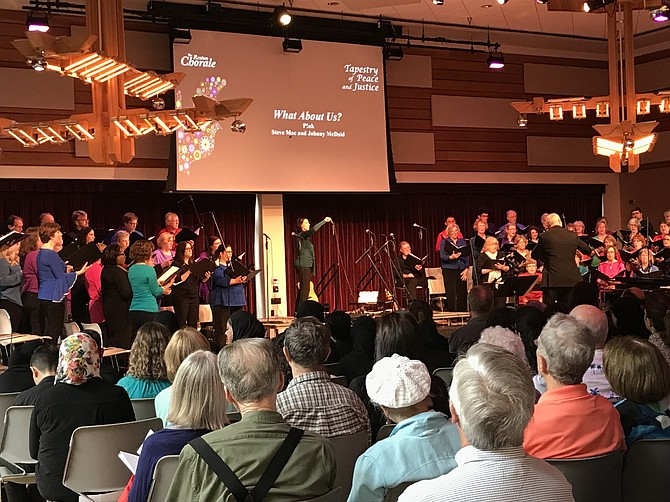 "The Reston Chorale, conducted by David B. Lang, sings ""What About Us?"", music and lyrics by Pink, Steve Mac and Johnny McDaid with Malika Evans, Soloist."