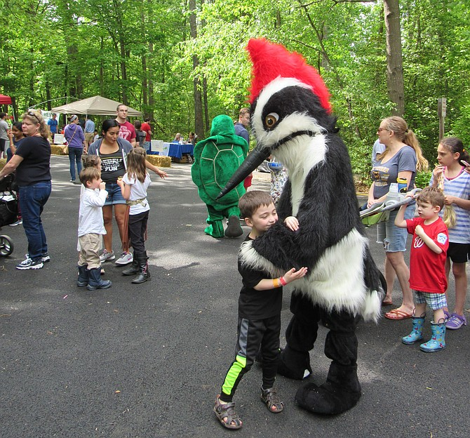 A child gives a big hug to the mascot of the official bird of Reston, the Pileated Woodpecker, during Walker Nature Center's Spring Festival 2019.