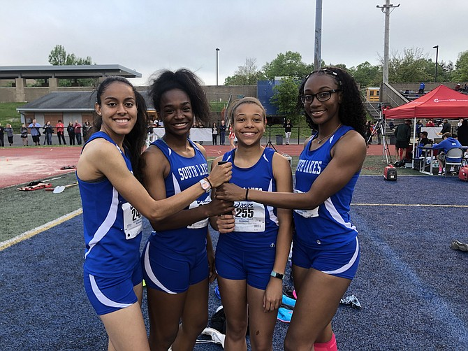Mary Gregory, Hannah Waller, Jillian Howard and Juviannadean Mullings broke South Lakes High School's record in 4x100 at Liberty District Jamboree May 1.