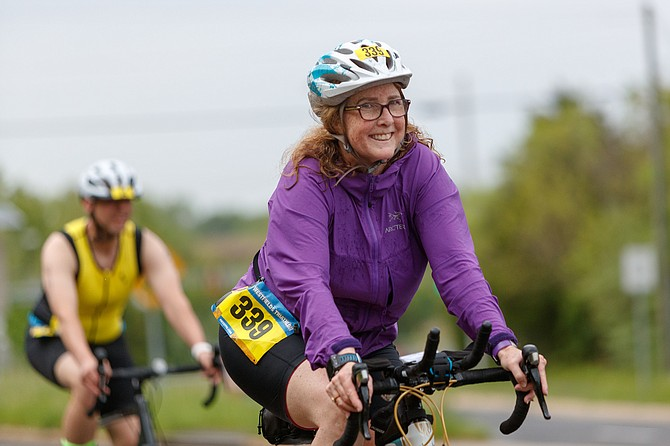Christine Fischer, 339, of Arlington during the bike ride.