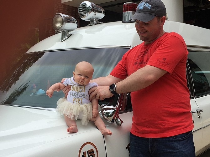 Justin Baird's daughter Emory Baird was born on Feb. 9, 2019. She attended her first Cabin John Park Volunteer Fire Department open house on Saturday, May 4, 2019 with older brother Hudson, 3, who loves fire trucks.