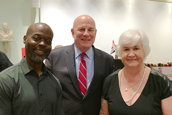 Michael Clinkscale, GOP candidate for the House of Delegates, District 45; Thomas McDevitt, chairman of The Washington Times; and Eileen Brackens, president of the Commonwealth Republican Women's Club (CRWC) at the annual CRWC Membership Reception at the Lyceum.