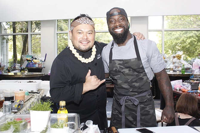 Kaimana Chee, Winner Cutthroat Kitchen, and Founder, Uncle's Hawaiian Grindz, pictured with Tobias Dorzon, Former Pro Football Player, and Founder, Victory Chefs Catering and The Victory Truck, during PHILLIPS Programs for Children and Families annual gala which supports PHILLIPS' work with youth who have significant behavioral health challenges.