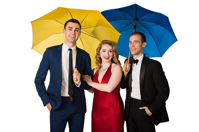 "Wood Van Meter, Morgan Kelleher and Robert Mintz in ""Singin' in the Rain"" at NextStop Theatre."