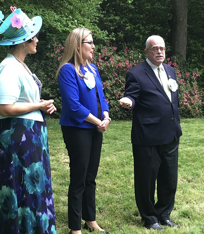 U.S. Rep. Gerry Connolly (D-11) (right), introduced U.S. Rep. Jennifer Wexton (D-10), saying he had asked her to run for Congress by being a little less than straightforward about how many weekends and evenings she would have to give up. Wexton in turn introduced Hala Ayala (left).