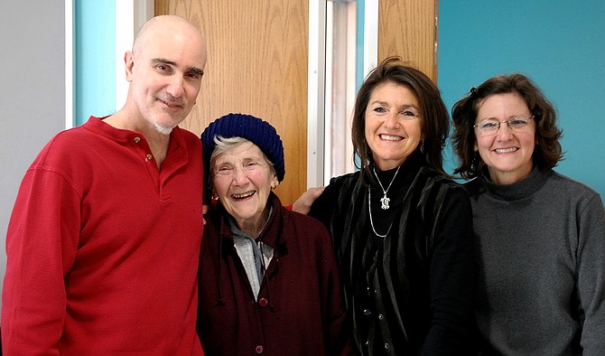 "Adeline ""Vicki"" Vitolo Santoro with her children Vince, Patty and Jackie at her 90th birthday party."