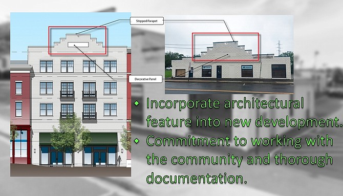 Comstock depicts proposed image to incorporate architectural stepped parapet and color into new design.
