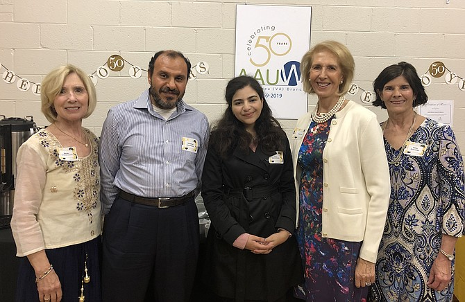Hana Abouelenein, a sophomore at Langley High School, was presented with the AAUW McLean Area Branch 2019 STEM Excellence Award at its 50th Anniversary Dinner on May 11. Shown, from left, are Myrtle Hendricks-Corrales, Branch Co-President; Mohamed Abouelenein, Hana's father; Hana Abouelenein; Judy Page, Branch STEM Chair; and Betsy Schroeder, Branch Co-President.