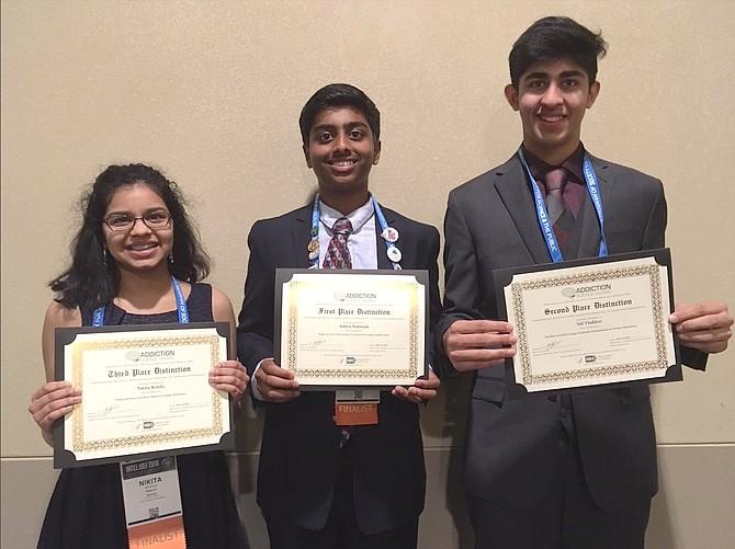 From left: Addiction Science Award winners Nikita Rohila (third place); Aditya Tummala (first) and Sid Thakker (second).