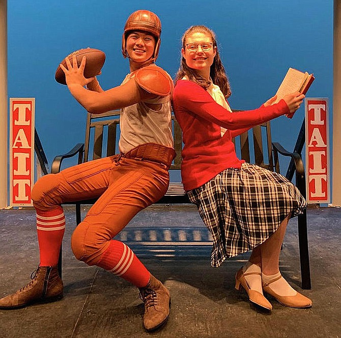 "Eli Nygaard and Madeleine Tyler portrayed college students in Fairfax High's musical, ""Good News."""