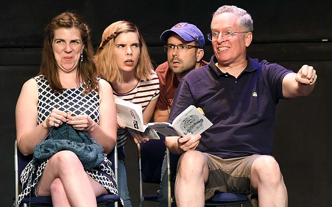 "Providence Players ""Leaving Iowa"" in rehearsal, from left: Amy Griffin as Mom, Lindsey June as Sis, Bobby Welsh as Don and Michael Bagwell as Dad."