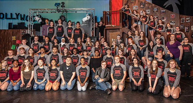 "The cast and crew of Westfield's Cappie-nominated musical, ""Rock of Ages."" (Director Rachel Harrington is on right, in purple)."