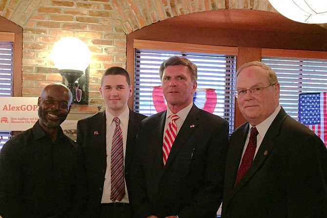 Michael Clinkscale, GOP candidate for House of Delegates District 45; Gregory Fanning, candidate for GOP Convention Delegate (2020); former Maryland Gov. Bob Ehrlich; and John Gray, GOP candidate for Prince William County chairman, Board of Supervisors, at the Alexandria Republican City Committee's annual Reagan Lincoln Reception in Old Town.