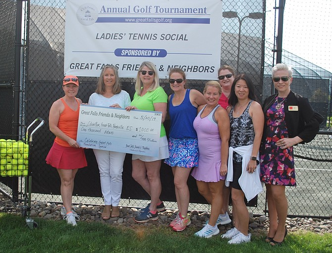 Great Falls Friends and Neighbors sponsors, Celebrate Great Falls Foundation board members, and FCPS representatives, from left: Missy Perkins, Claire Abbott, Erin Lobato, Meredith Brooke, Lisa Cuomo, Sheri Economou, Jennifer Eng and Kristin Dailey.
