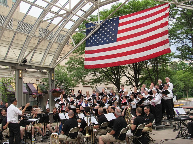 The Reston Chorale directed by Allan Laino, Principal Guest Conductor, and featuring Brass of the Potomac perform during A Star-Spangled Salute 2019 honoring those who served and those who made the ultimate sacrifice.