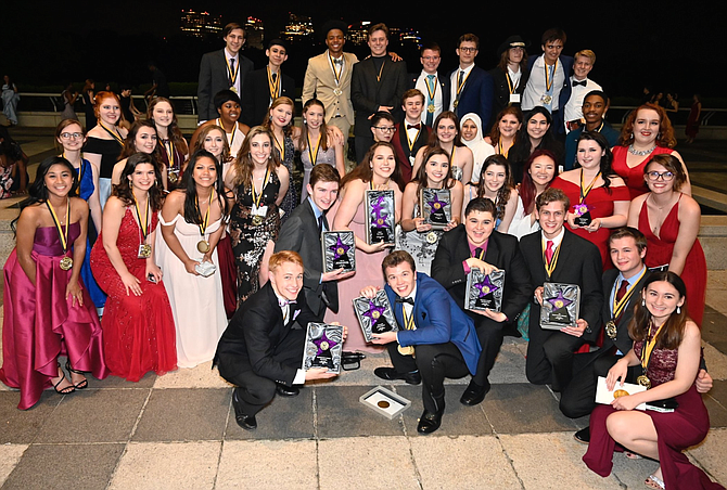 "Westfield High's cast, crew and Director Rachel Harrington (right side, third from top) after winning eight Cappies for their musical, ""Rock of Ages."""