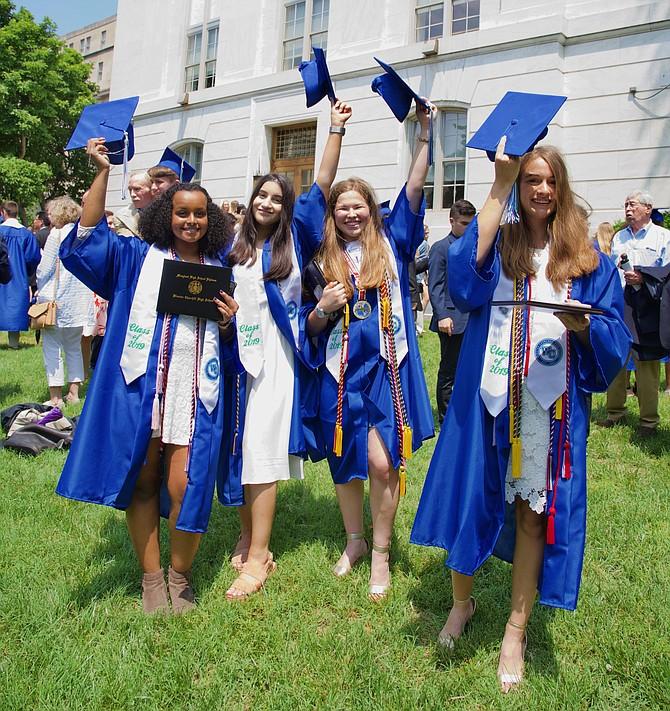 Just graduated from Winston Churchill High School at Constitution Hall: Hannah Wodajo, Aden Ahmad, Emily Feigen, Laura Sneller.