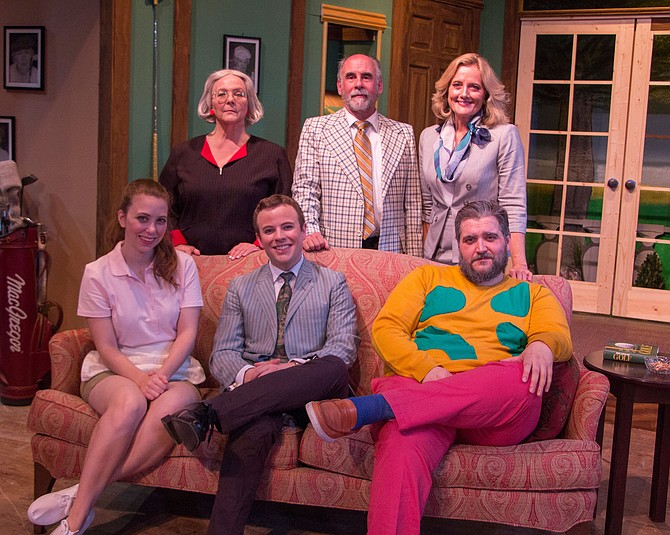 "The full cast of ""A Fox on the Fairway"" (seated from left): Raeanna Larson as Louise Heidbedder, Cameron McBride as Justin Hicks and Brendan Chaney as Dickie Bell. Standing from left: Lorraine Bouchard as Muriel Bingham, Ken Kemp as Henry Bingham and Patricia Nicklin as Pamela Peabody."