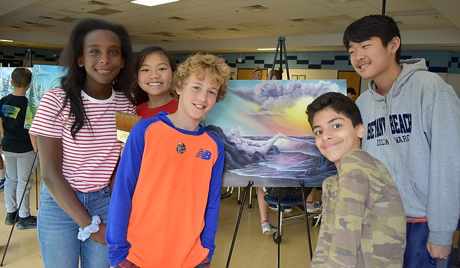 Haley Clemente, Fiona Wong, Teddy Musser, Aria Bagheriannia and Wesley Kim enjoy an original Bob Ross painting.
