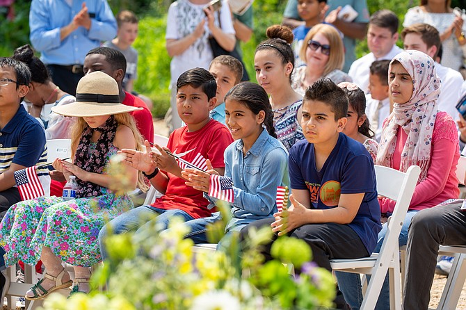 Thirty-nine children became U.S. citizens at the event.