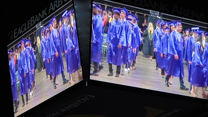 The Jumbotron during Chantilly High School's graduation at the GMU Eagle Bank Arena on Tuesday, June 4, 2019.