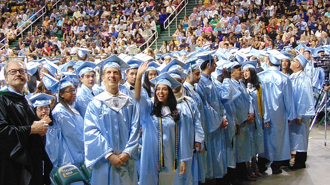 Centreville High seniors at the Eagle Bank Arena during Centreville High School's graduation on Friday, June 7, 2019.