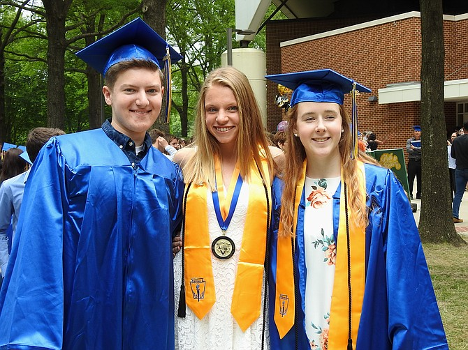 Graduates of Robinson, Zach Camp, Seneca Willen and Alison Gebhard have been friends since their years at  Laurel Ridge Elementary.