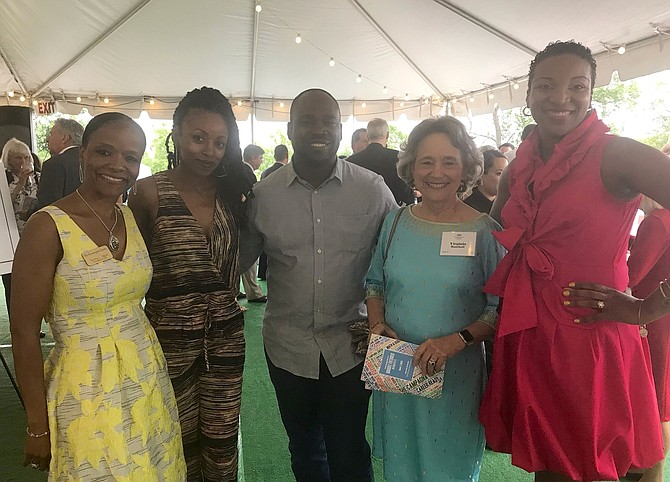 Campagna Center President and CEO Tammy Mann, left, stands with Campagna Kids parents Tonya Khakazi and Esteve Mede along with Virginia Bancroft and Jessica Hebron at the Center's Bright Futures Benefit, held June 7 at United Way Worldwide.