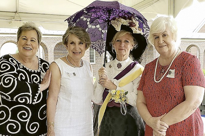 "Commonwealth Republican Women's Club (CRWC) members attend ""A Women's Suffrage Celebration"" sponsored by the Virginia Federation of Republican Women (VFRW). From left are Sally Linderman; Susie Miller; Lynn Garvey-Hodge as Suffragist Mrs. Robert Walker; and Eileen Brackens, CRWC President."