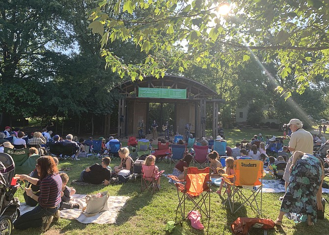 Local Beatles Tribute band, Nowhere Man, performing at Vienna Town Green.