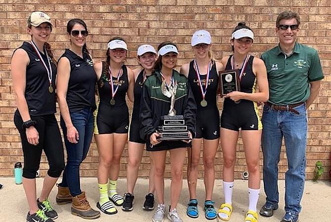 The winning women's four boat: Coach Lauren Evans, coach Julie Sutliff, Jenna Ashtar, Sydney Weinstein, Lilliana Fedewa, Lily Fowler, Olivia Elkas,  Coach Kevin Bedell.