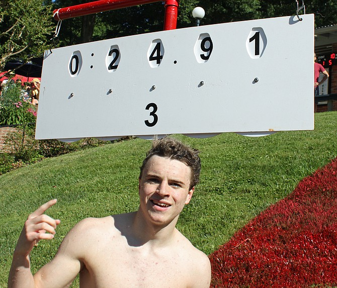 Sean Conley (Donaldson Run team record in boys' 15-18 50 free and tied his own previous record in boys' 15-18 back).