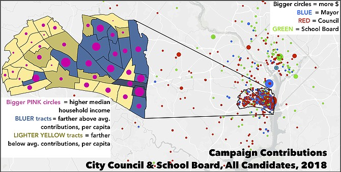 """Campaign Finance: Between 2017 and 2018, individuals and organizations outside of Alexandria supplied 41 percent of campaign contributions to City Council and School Board candidates. That's including """"direct"""" monetary contributions and """"in kind"""" contributions of products or services (e.g., a restaurant donates food to a campaign event), but excluding candidate self-financing and loans. Of 19 single contributions to any Council or School Board candidate of $5,000 or more, only eight came from within Alexandria. Though not pictured here, state politics showcases the influence of outside money even more. The five sitting state delegates and senators whose districts overlap Alexandria received anywhere between 54-98 percent of campaign contributions from outside their districts, and 13-22 percent from outside Virginia. That's in aggregate since 2012 (or since the first year the candidate ran, if after 2012), excluding small cash contributions, for which campaign finance reports don't record addresses. For 2018 local races, higher giving corresponded somewhat with higher income and homeownership, though not without exception. Sources: Virginia Department of Elections, Esri, City of Alexandria, file format conversions via conversiontools.io in accordance with terms of use."""