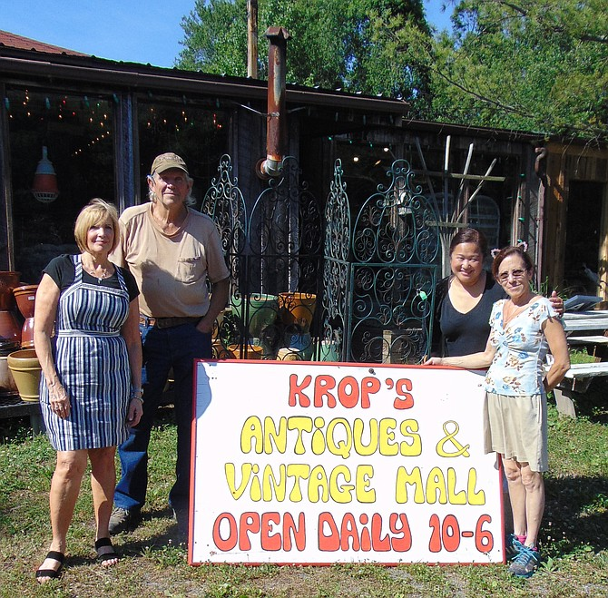 Some of the vendors at the newly expanded Krop's Vintage Market Place, located at Krop's Crops at 11110 Georgetown Pike in Great Falls. From left: Vendor Ginger Mahon, owner Larry Krop, Joy Harrison, and Hatsie Charbonneau.