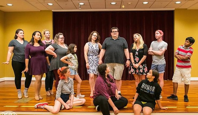 """From left, the jungle animals in """"Seussical"""", including the Sour Kangaroo, Mayzie LaBird, the Wickersham Brothers and the Bird Girls, are all struck by Horton the Elephant's belief in the small planet of Who."""
