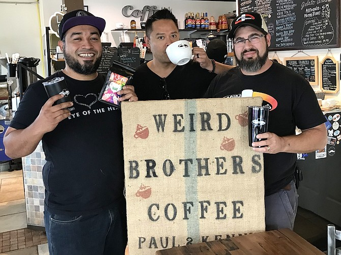 Stephen Vides-Sanchez, Founder of EOTH, LLC; Dave Morgan, Founder and Executive Director, RecycleLife; and Paul Olsen, owner of Weird Brothers Coffee in Herndon, get ready to share a cup of joe to support Coffee for Dollars benefitting RecycleLife.org.