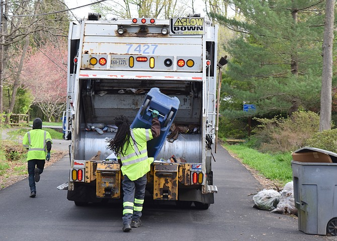 In Fairfax County, private collection companies pick up trash and recycling for 90 percent of residents and businesses while the county trash service is responsible for 10 percent.