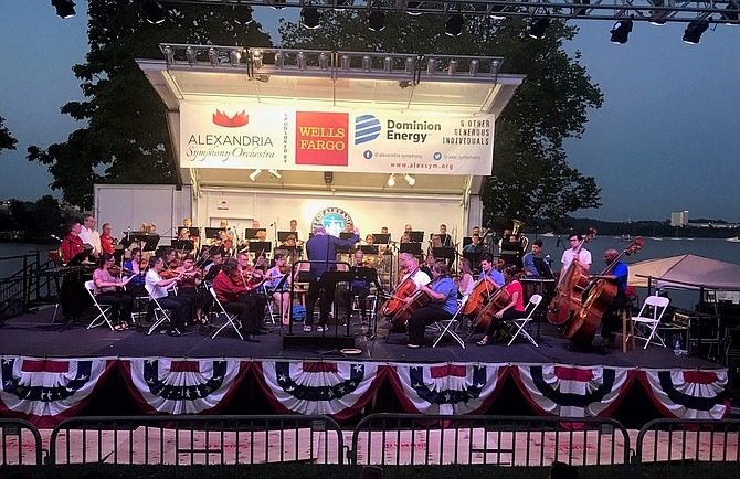 Under the direction of Maestro James Ross, the Alexandria Symphony Orchestra performs during Alexandria's 270th birthday celebration July 13 at Oronoco Bay Park.