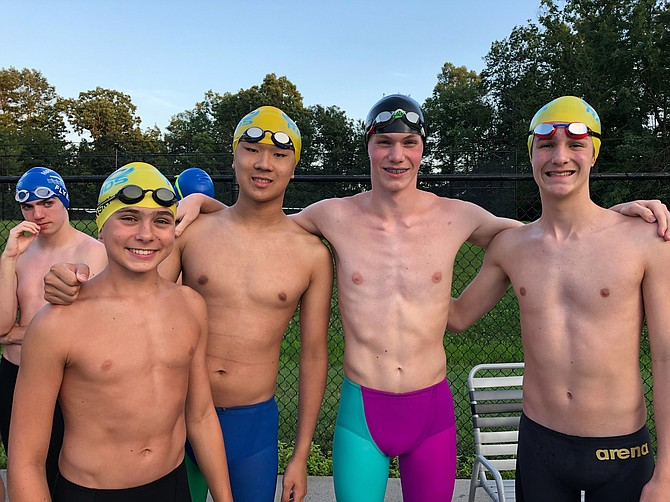 The boys in the record-setting relay (from left) are Sasha Minsky, Leo Song, Adam Manley and Simon Bermudez.