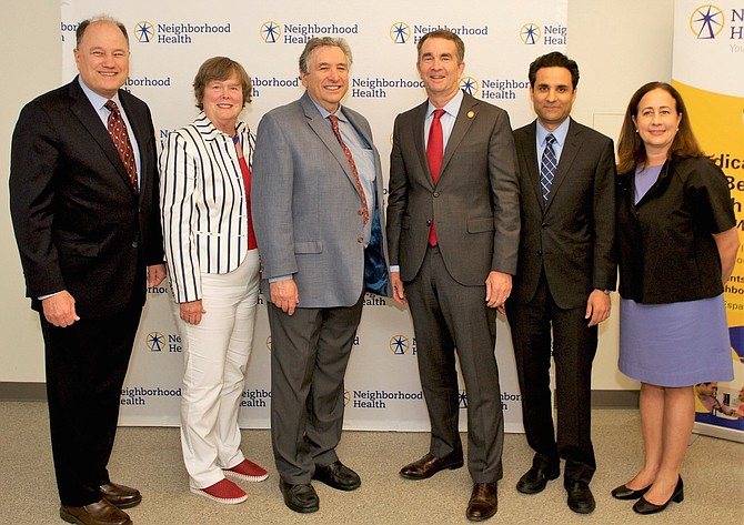 At the July 31 event: Tom Greeson, board president; Carter Flemming; Mike Millman; Gov. Ralph Northam; Dr. Basim Khan, executive director; and Alisa Valudes Whyte.
