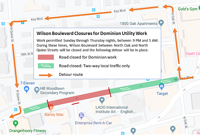 Detour map for nighttime closures of Wilson Boulevard in western Rosslyn.