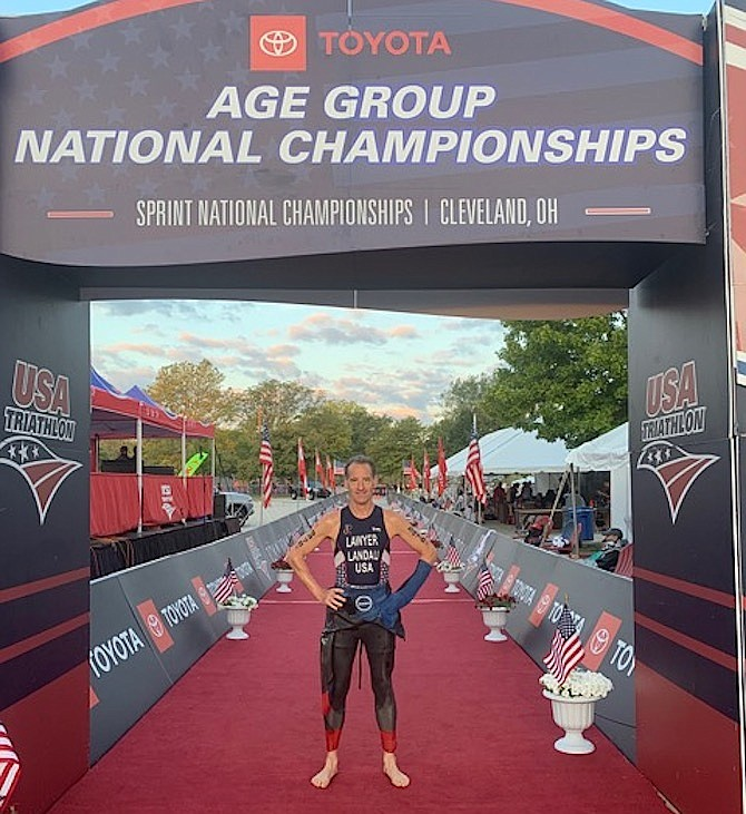 Doug Landau is the USAT 2019 Mid-Atlantic Sprint Triathlon Champion for his age group.
