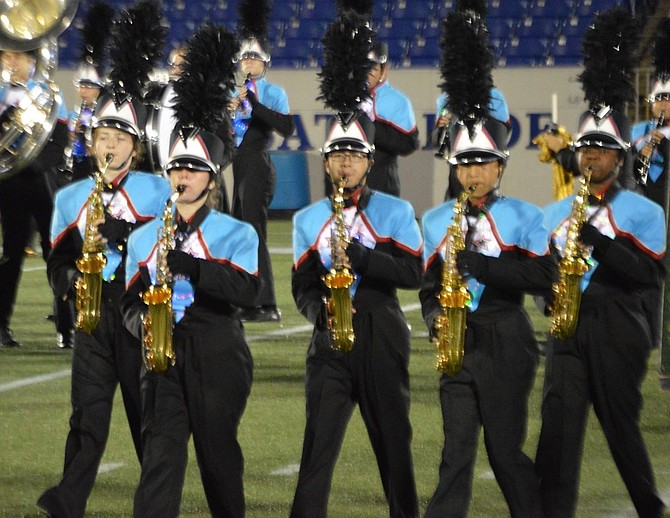 The George C. Marshall High School Marching Statesmen are a Virginia Honor Band.