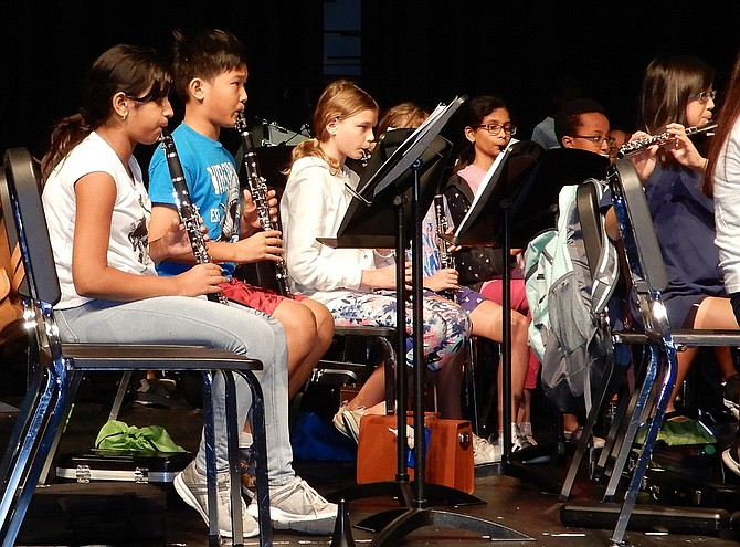 Students rehearsing with the camp's Cadet Band.